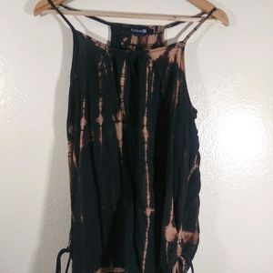 Forever 21 Reverse Tie Dye Ruched Tank Top